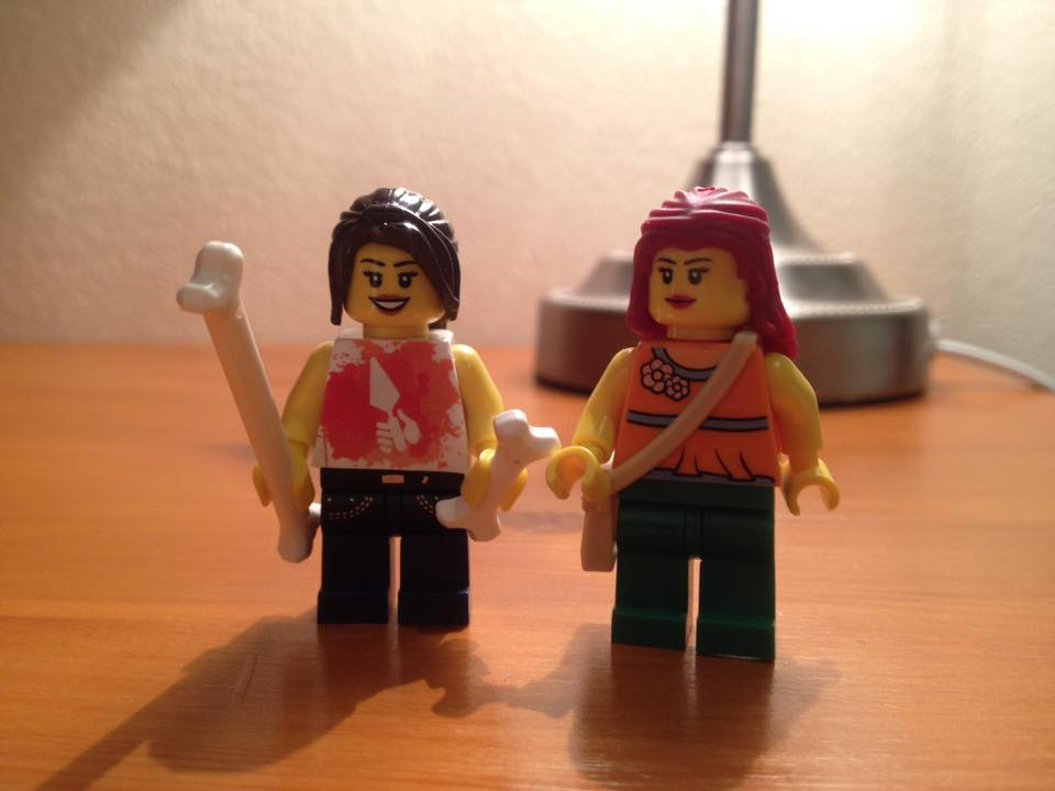 My Lego figures. To the left is my new DigIt! lego figure and the right is my Lego figure I made in the Lego shop, Metro Centre.