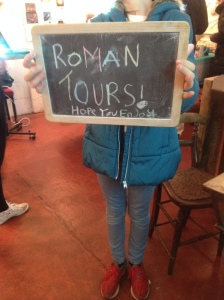 One of our young visitors getting into the spirit of things! After learning about Romans at school, and listening to our stories- our visitor was keen and inspired to lead her own tour!