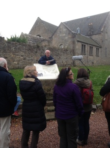 Some of our visitors listening to the story of the Cramond Roman Fort.